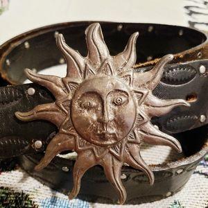 Vintage Genuine Leather Sun Face Buckle Belt